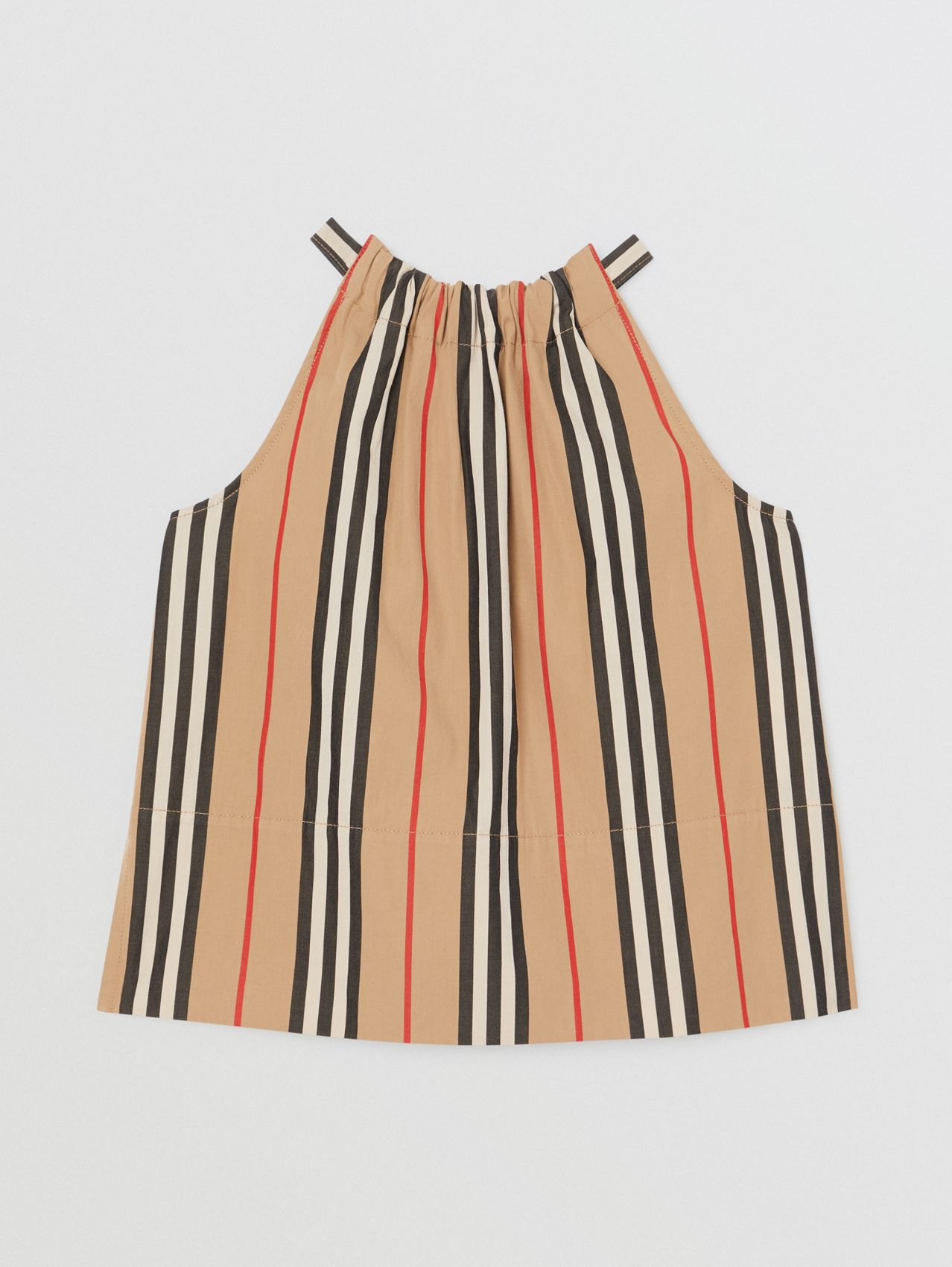 Icon Stripe Cotton Halterneck Top (Archive Beige)