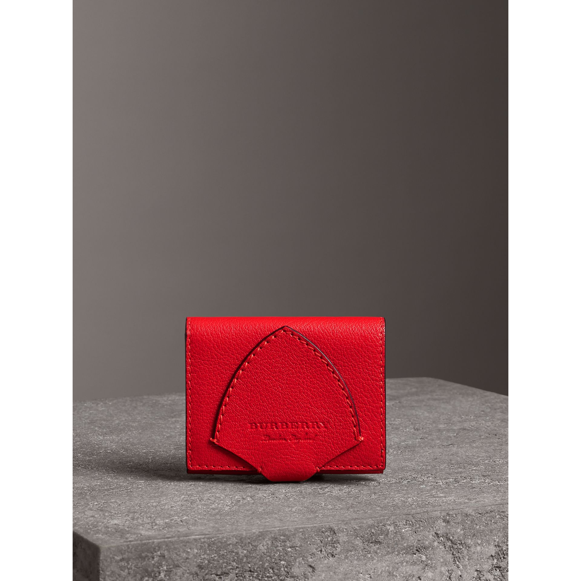 Equestrian Shield Two-tone Leather Folding Wallet in Bright Red - Women | Burberry Australia - gallery image 4