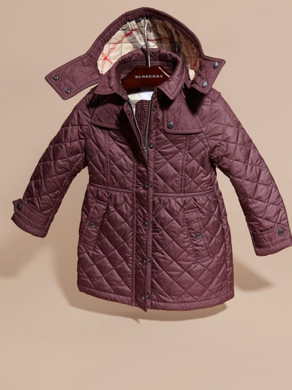 Dark elderberry Diamond Quilted Trench Coat - cell image 2