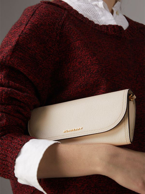 Leather Wallet with Chain in Limestone - Women | Burberry - cell image 3