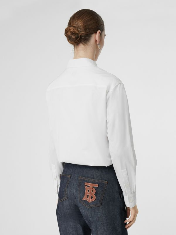 Button-down Collar Monogram Motif Cotton Shirt in White - Women | Burberry United Kingdom - cell image 2