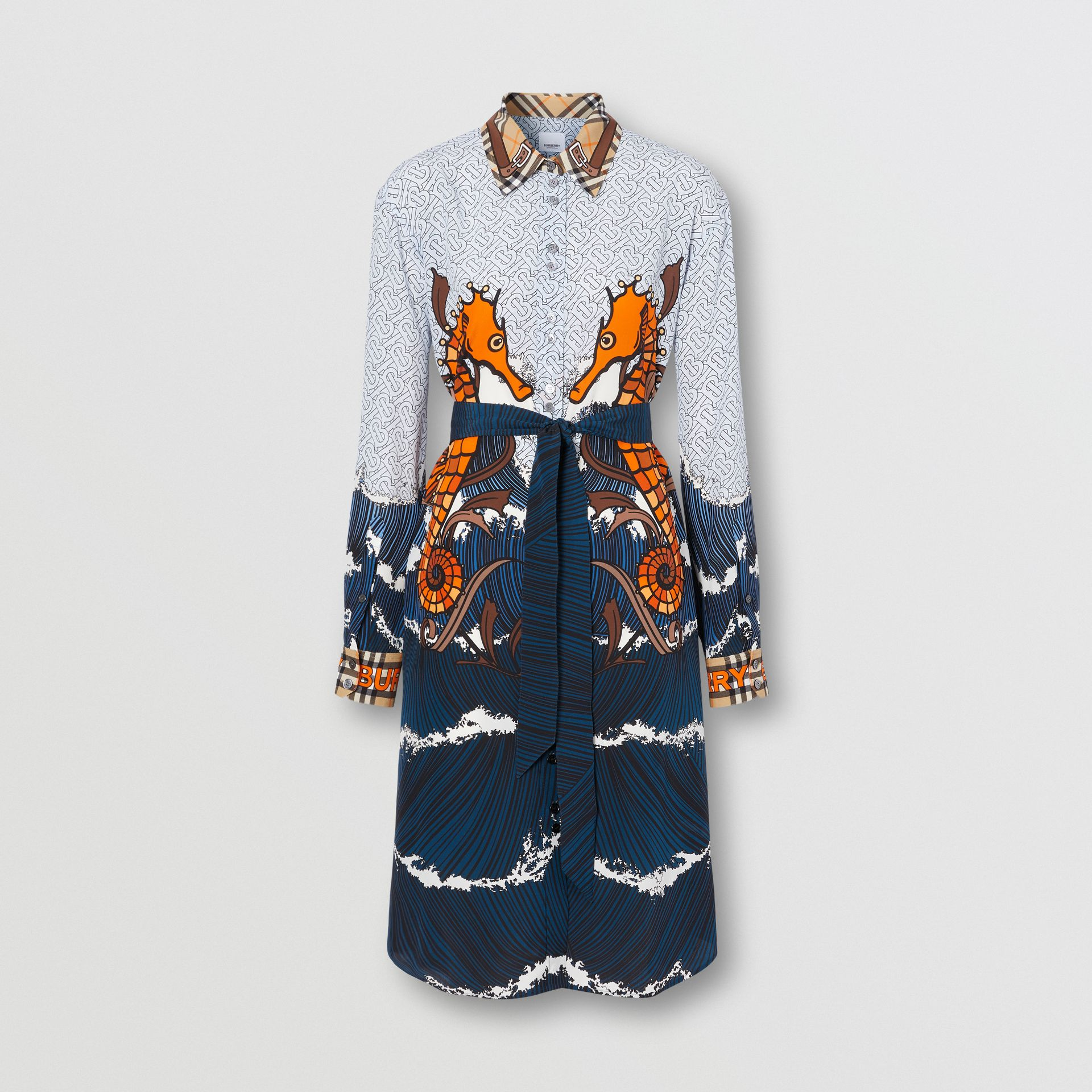 Seahorse and Monogram Print Silk Shirt Dress in Baby Blue - Women | Burberry United Kingdom - gallery image 3