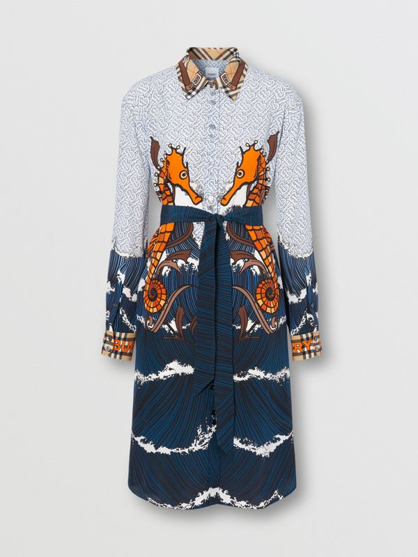 Seahorse and Monogram Print Silk Shirt Dress in Baby Blue - Women | Burberry United Kingdom - cell image 3