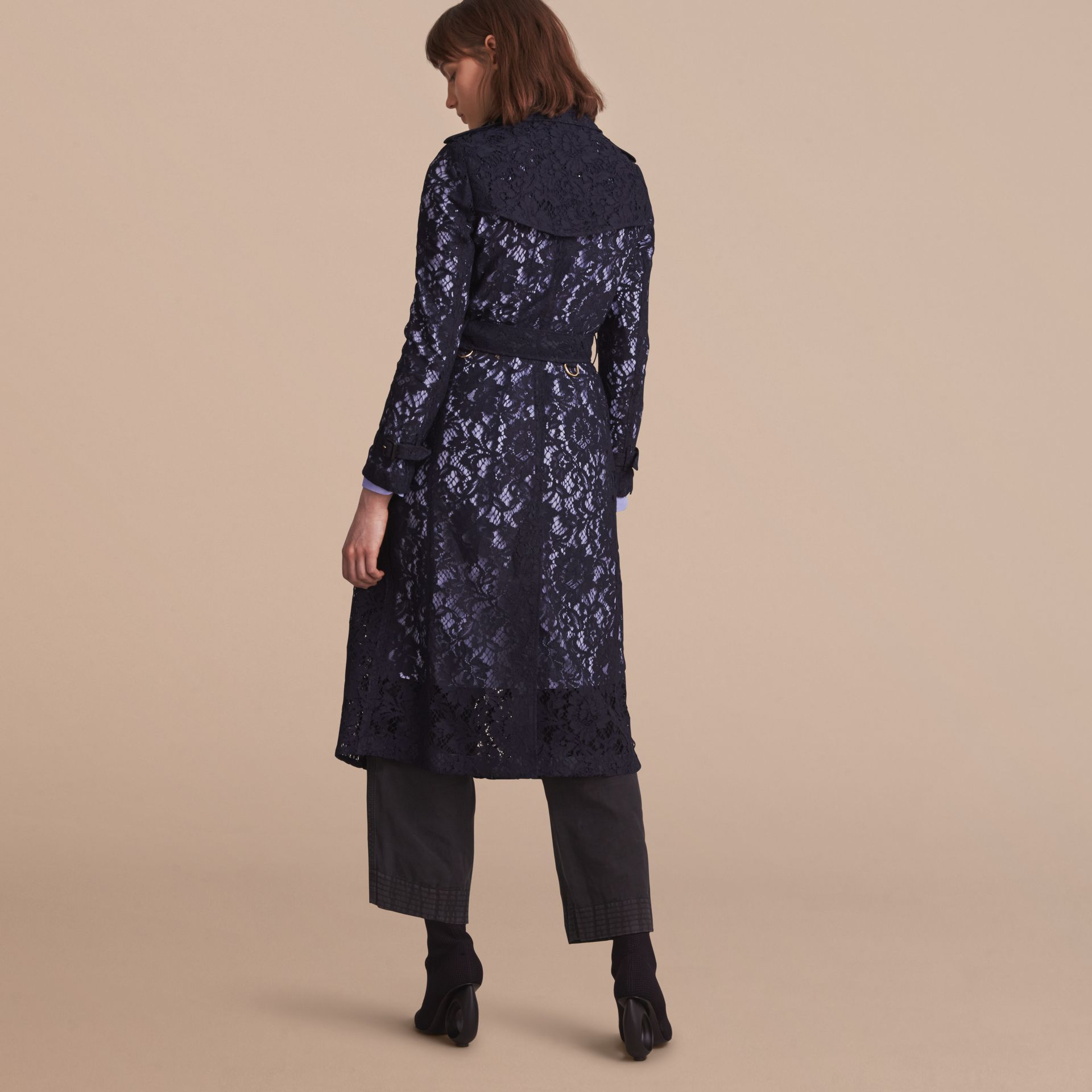 Macramé Lace Trench Coat in Navy - gallery image 3