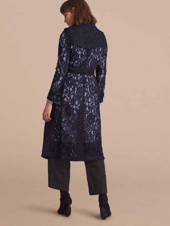 Macramé Lace Trench Coat in Navy - cell image 2