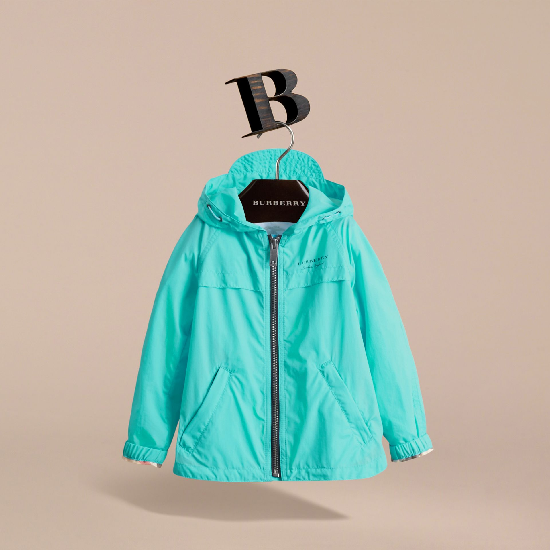 Showerproof Hooded Technical Jacket in Bright Turquoise - Boy | Burberry Australia - gallery image 3