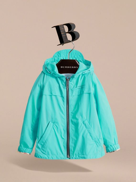 Showerproof Hooded Technical Jacket in Bright Turquoise - Boy | Burberry - cell image 2
