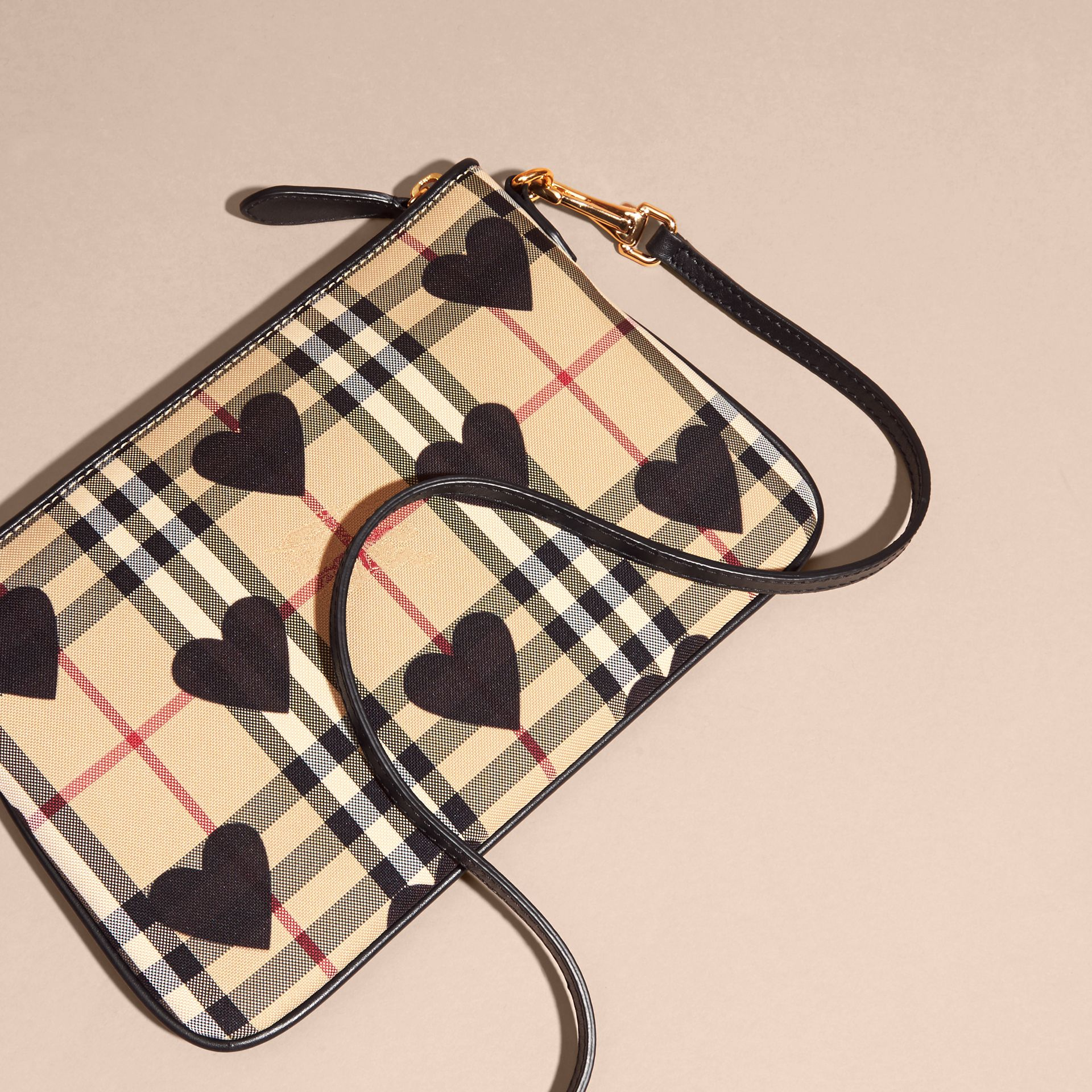 Heart Print Check and Leather Clutch Bag in Black - gallery image 5
