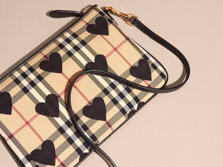 Heart Print Check and Leather Clutch Bag in Black - cell image 4