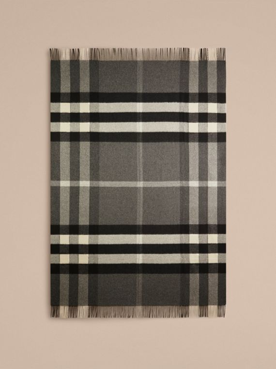 Check Cashmere Blanket in Mid Grey | Burberry Canada - cell image 2