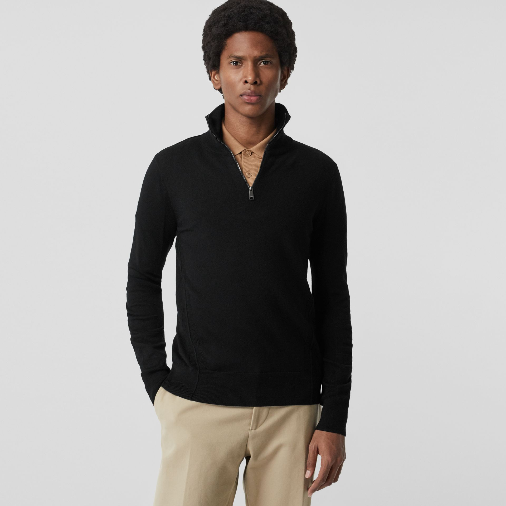Merino Wool Half-zip Sweater in Black - Men | Burberry Australia - gallery image 5