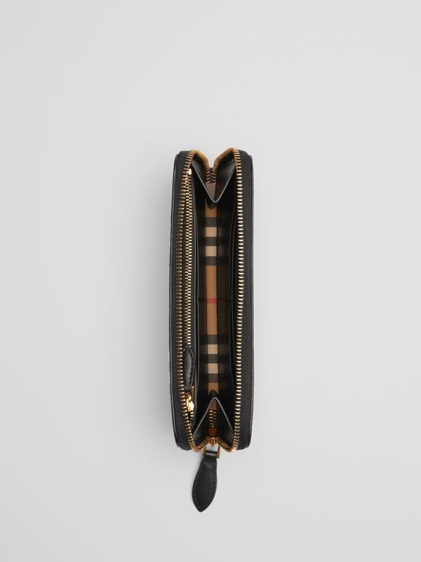Vintage Check and Leather Ziparound Wallet in Black - Women | Burberry Australia - cell image 3