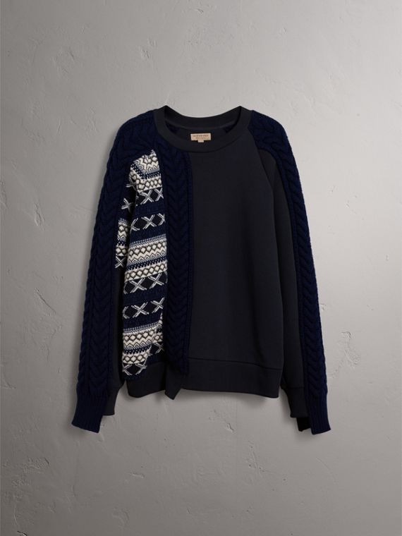 Cable and Fair Isle Knit Detail Cotton Sweatshirt in Navy - Women | Burberry - cell image 3