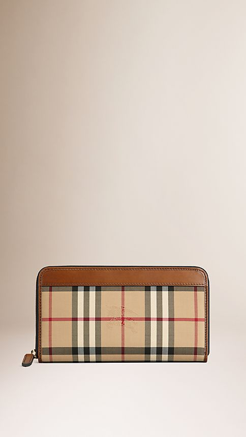 Tan Horseferry Check Ziparound Wallet - Image 1