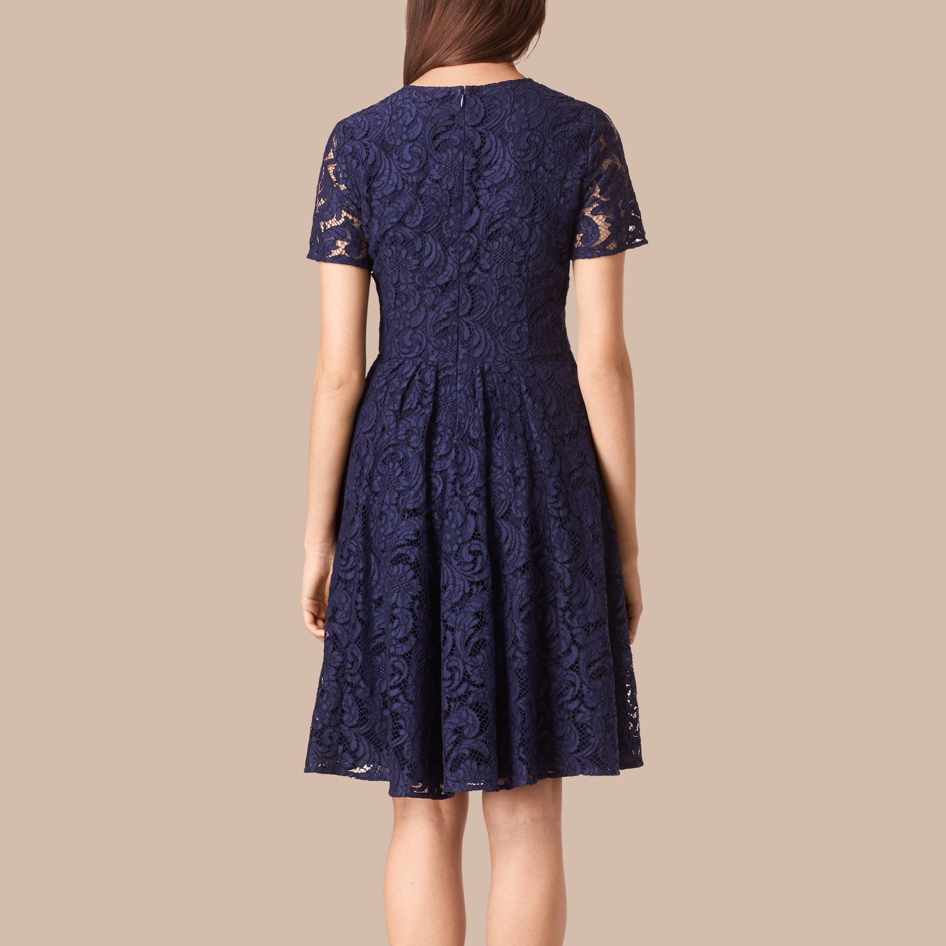 Bright regency blue French Lace A-line Dress - gallery image 2