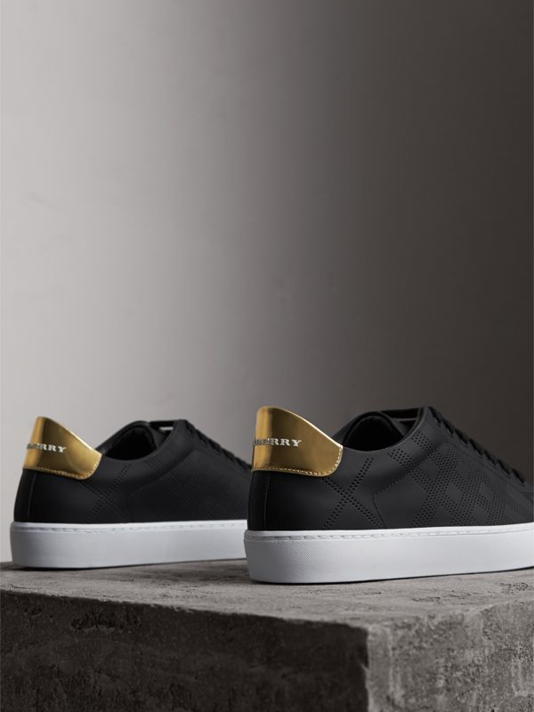 Perforated Check Leather Sneakers in Black - Women | Burberry United Kingdom - cell image 3