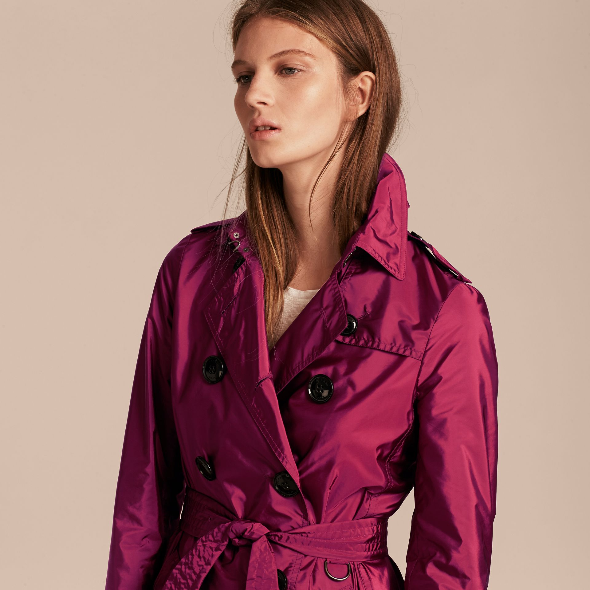 Lightweight Trench Coat in Berry Pink - gallery image 5