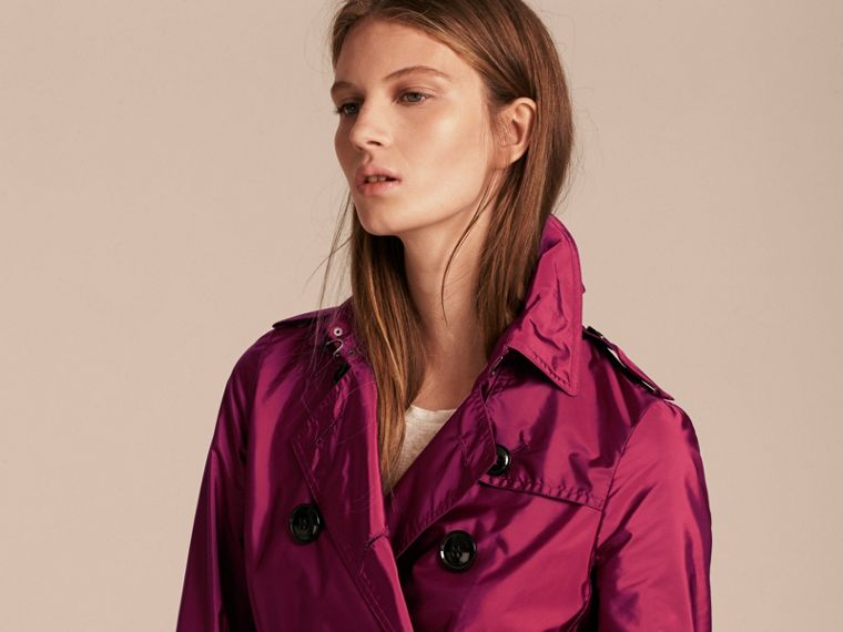 Lightweight Trench Coat in Berry Pink - cell image 4
