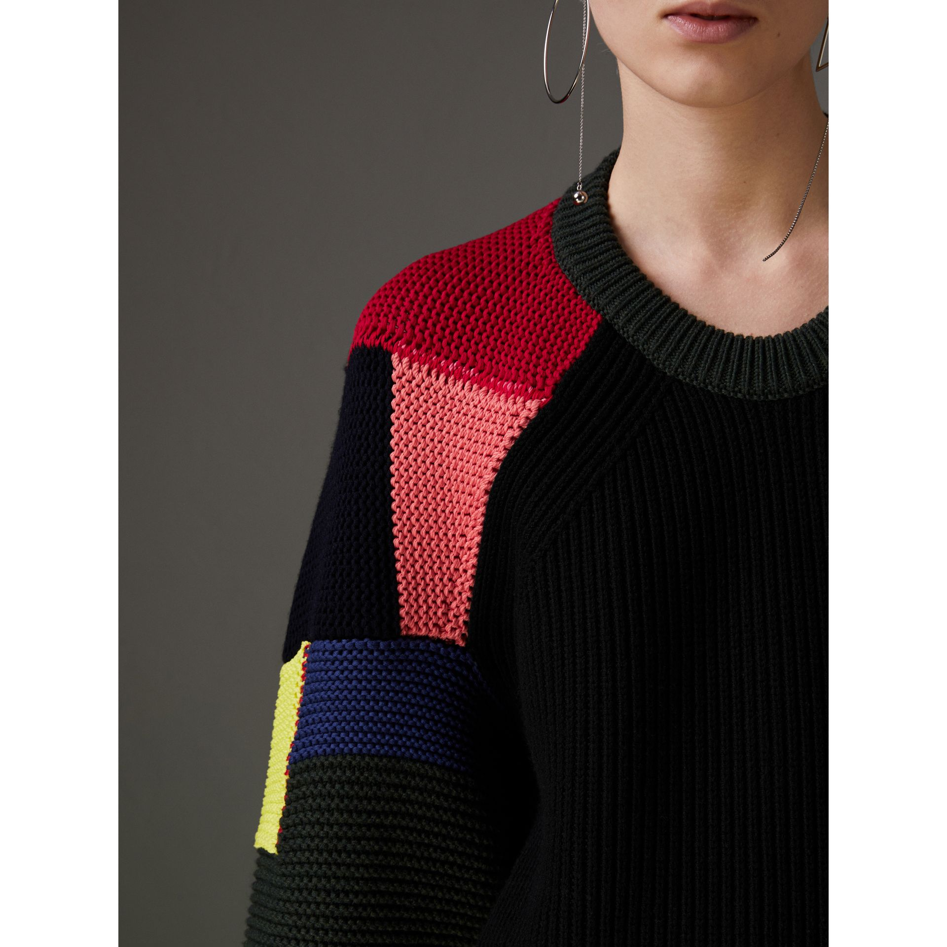 Patchwork Wool Cashmere Blend Sweater in Multicolour - Women | Burberry - gallery image 1