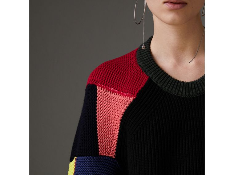 Patchwork Wool Cashmere Blend Sweater in Multicolour - Women | Burberry United Kingdom - cell image 1