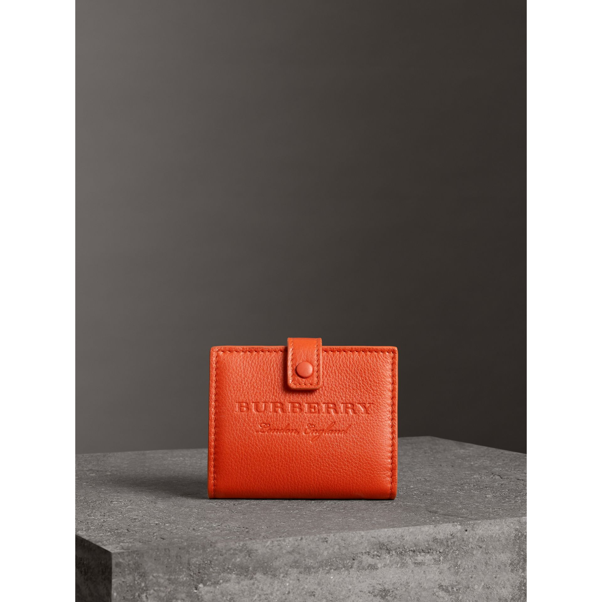 Embossed Leather Folding Wallet in Dark Clementine - Women | Burberry - gallery image 4