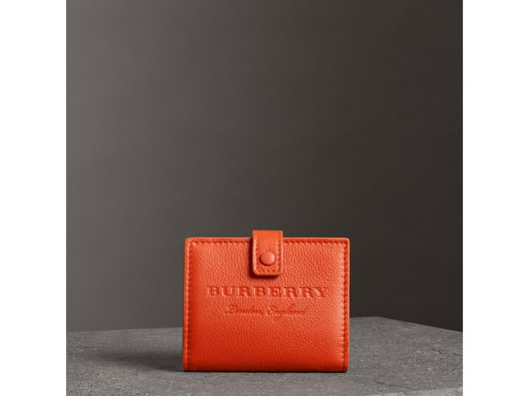 Embossed Leather Folding Wallet in Dark Clementine - Women | Burberry - cell image 4