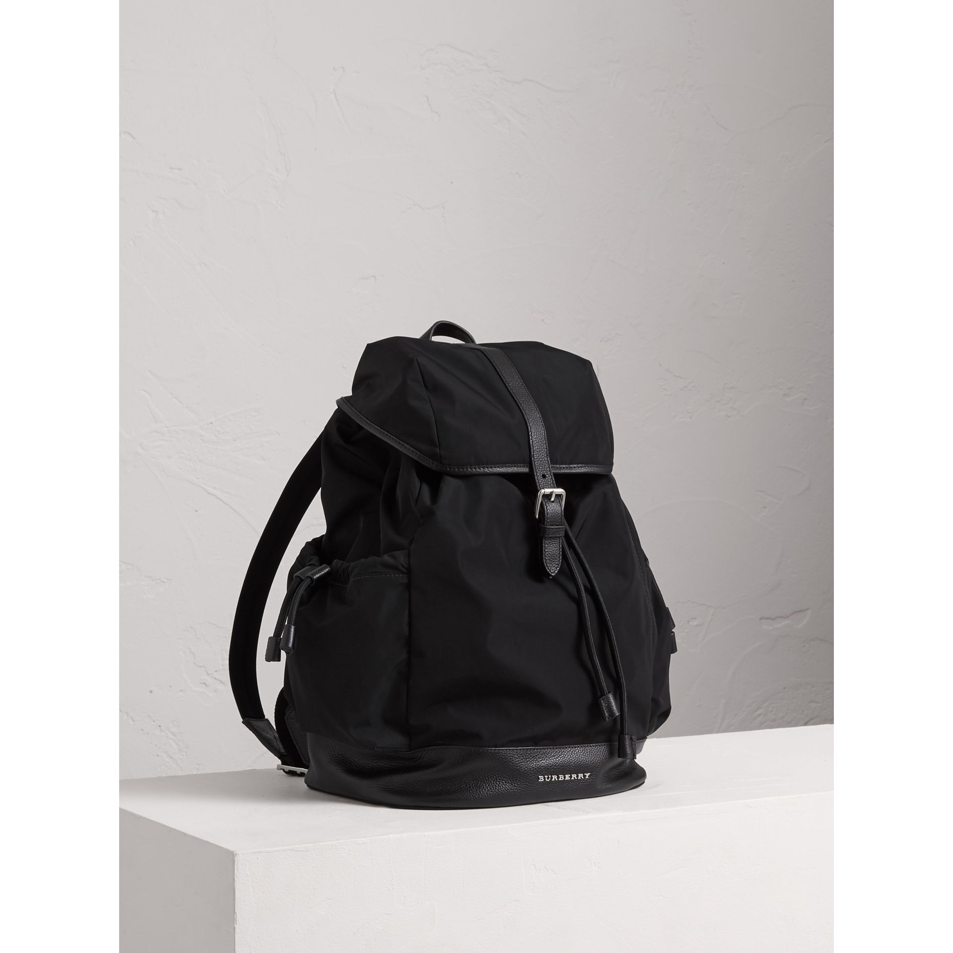 Leather Trim Baby Changing Rucksack in Black | Burberry United States - gallery image 0