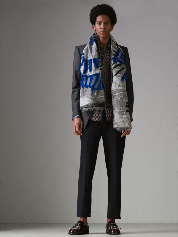 Graffiti Print Fil Coupé Cotton Wool Modal Scarf in Cobalt Blue | Burberry - cell image 2