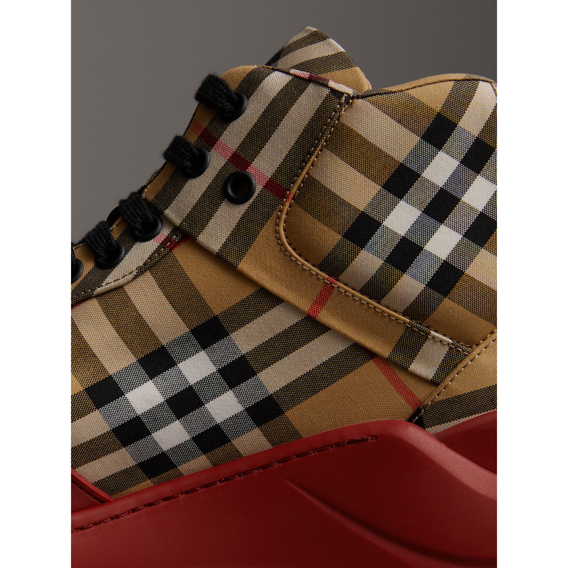 Vintage Check High-top Sneakers in Antique Yellow/military Red | Burberry Australia - gallery image 1