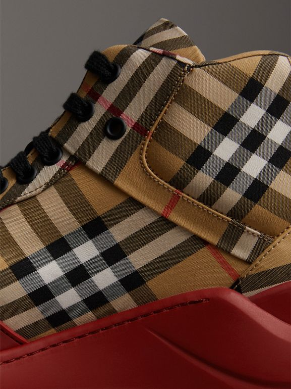Vintage Check High-top Sneakers in Antique Yellow/military Red | Burberry Australia - cell image 1