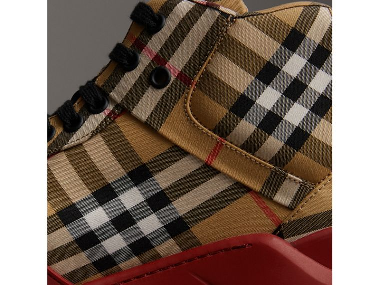 Vintage Check High-top Sneakers in Antique Yellow/military Red | Burberry Canada - cell image 1