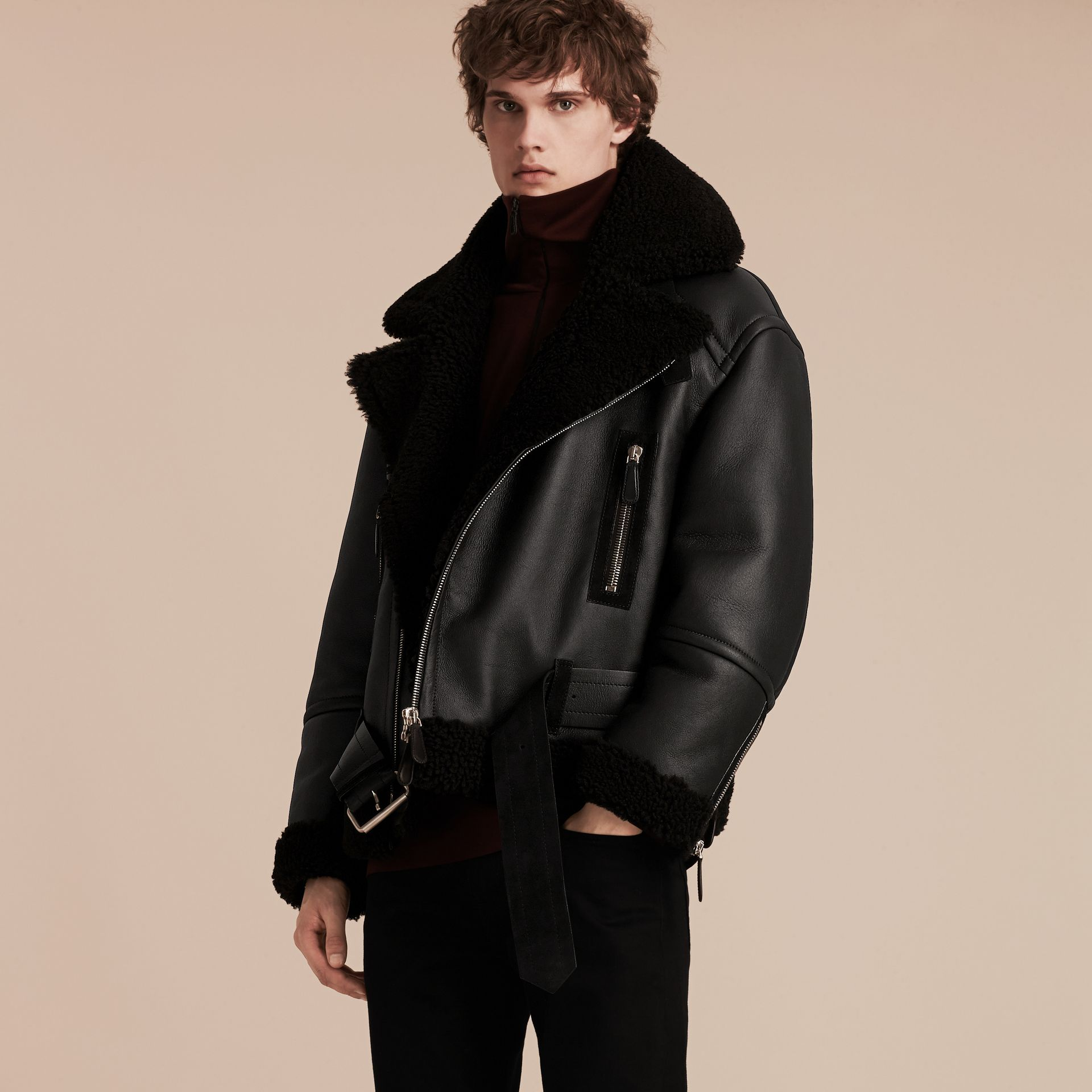 Black Oversize Shearling Flight Jacket - gallery image 7