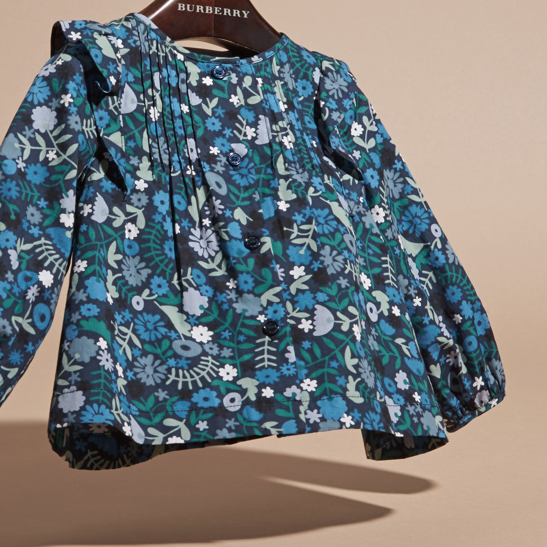 Hydrangea blue Floral Print Cotton Shirt with Ruffle Detail - gallery image 3