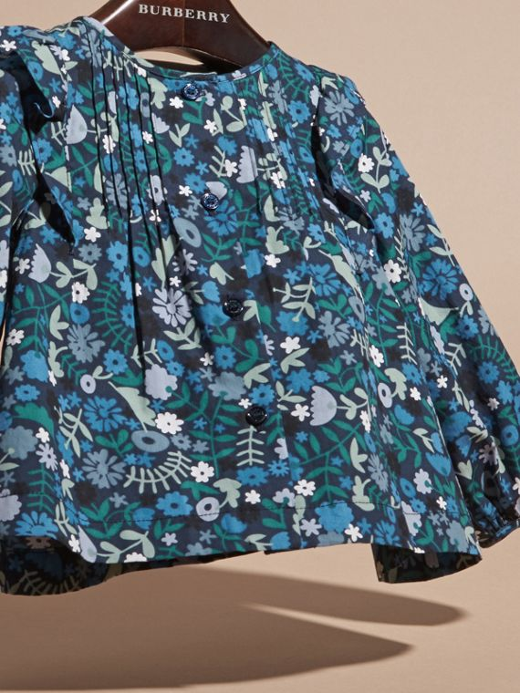 Hydrangea blue Floral Print Cotton Shirt with Ruffle Detail - cell image 2