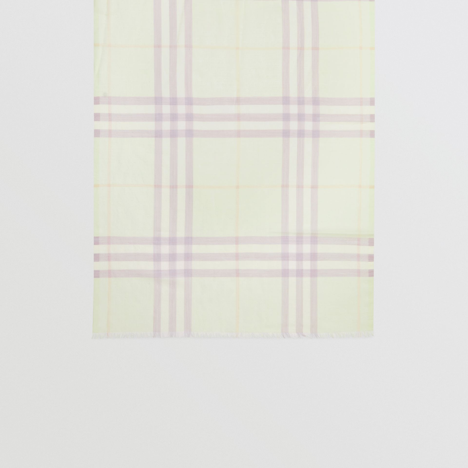 Lightweight Check Wool and Silk Scarf in Limestone | Burberry - gallery image 3