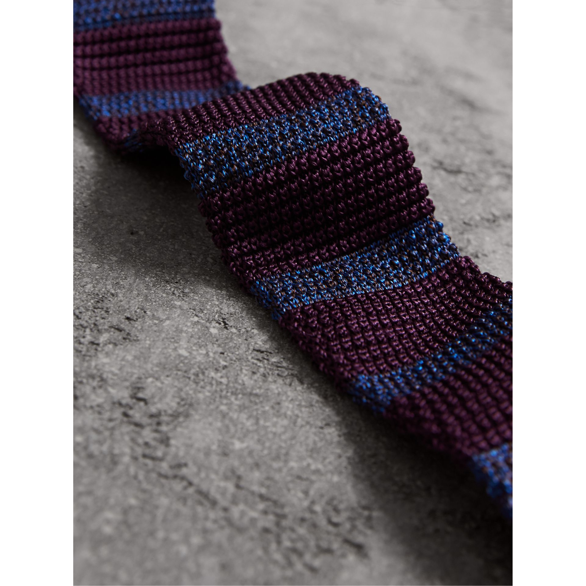 Slim Cut Two-tone Knitted Silk Tie in Heather - Men | Burberry - gallery image 2