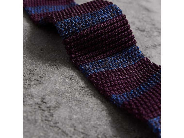 Slim Cut Two-tone Knitted Silk Tie in Heather - Men | Burberry - cell image 1