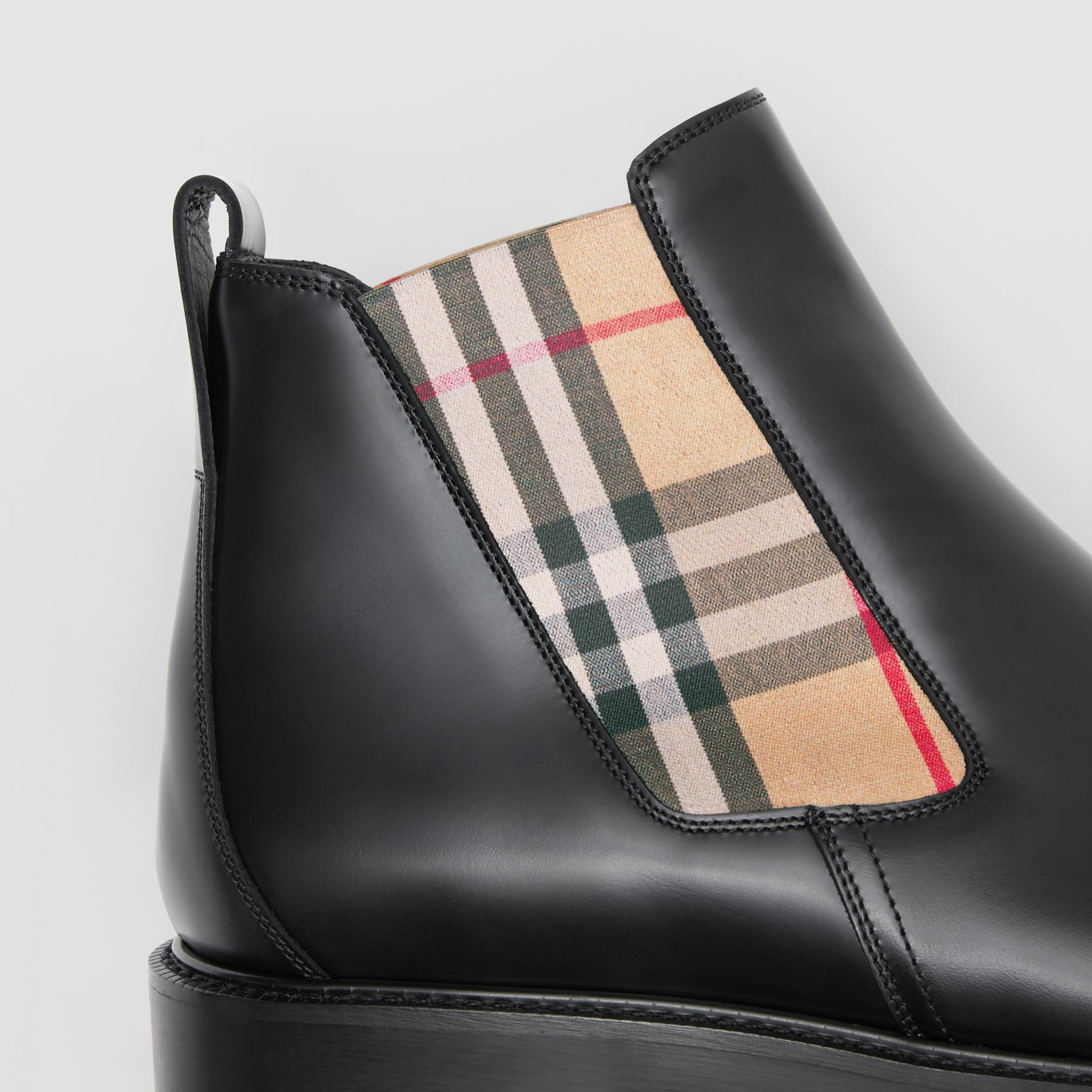 Vintage Check Detail Leather Chelsea Boots in Black - Men | Burberry United Kingdom - gallery image 1