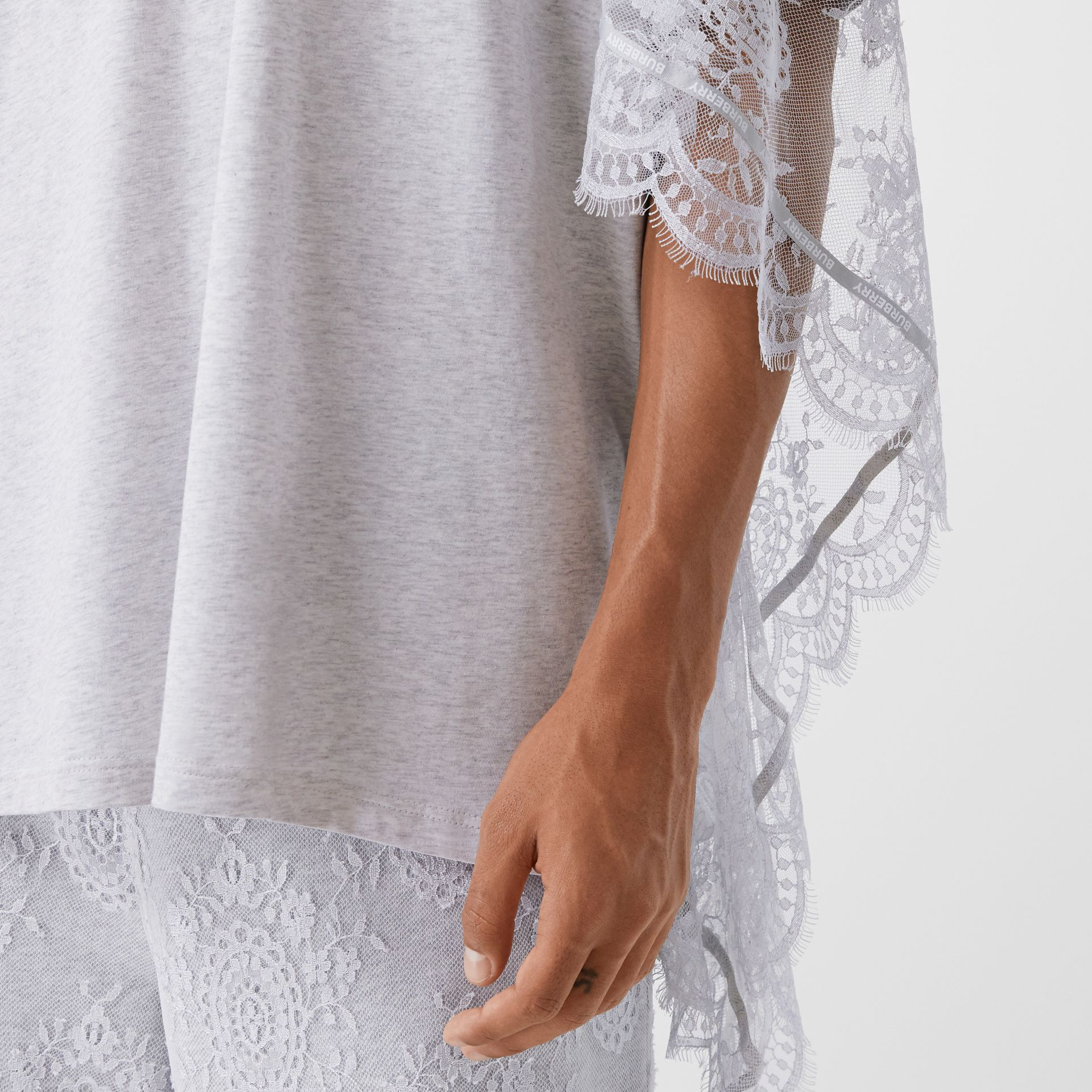 Chantilly Lace Cape Detail Cotton Oversized T-shirt in Porcelain | Burberry - gallery image 6