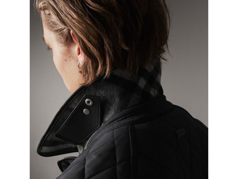 Leather Piping Corduroy Collar Quilted Jacket in Black - Men | Burberry - cell image 4