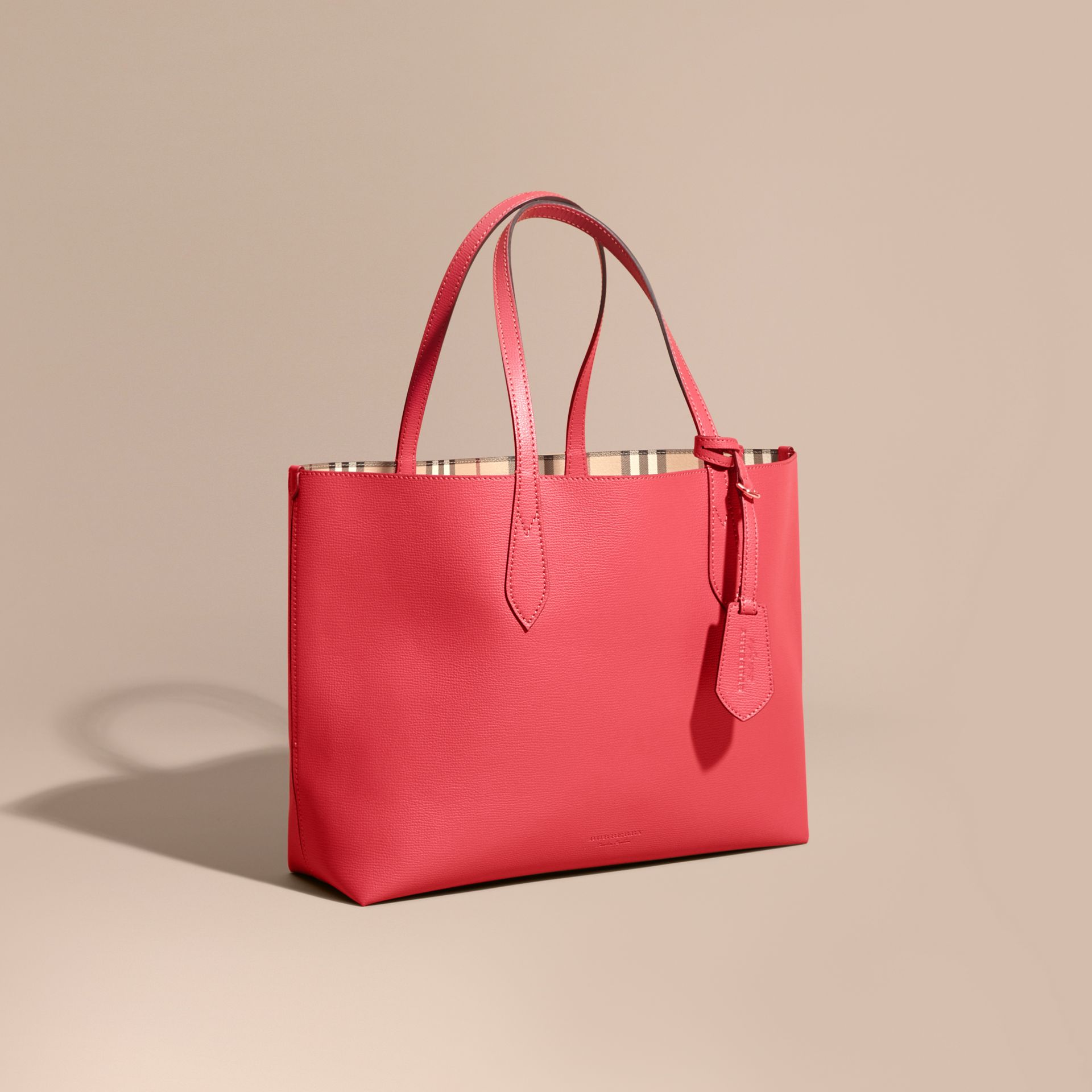 The Medium Reversible Tote in Haymarket Check and Leather Coral Red - gallery image 1