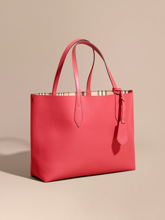 The Medium Reversible Tote in Haymarket Check and Leather Coral Red