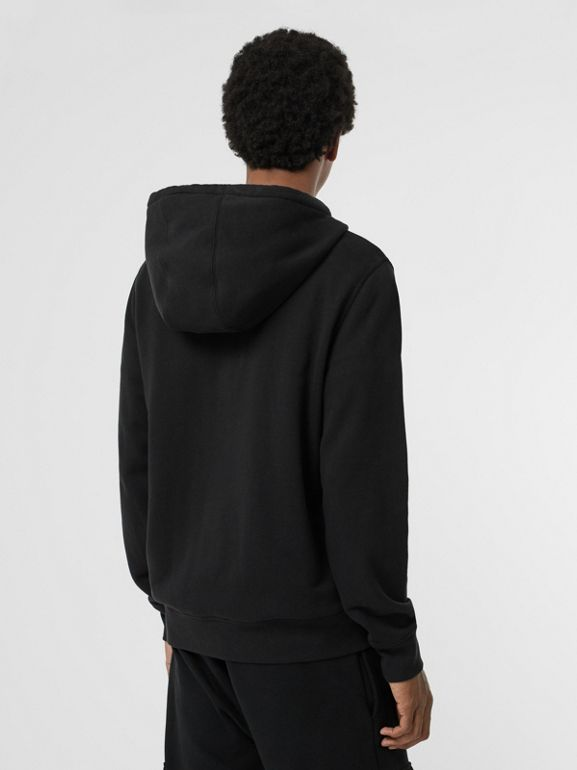 Contrast Crest Cotton Hooded Top in Black - Men | Burberry Singapore - cell image 1