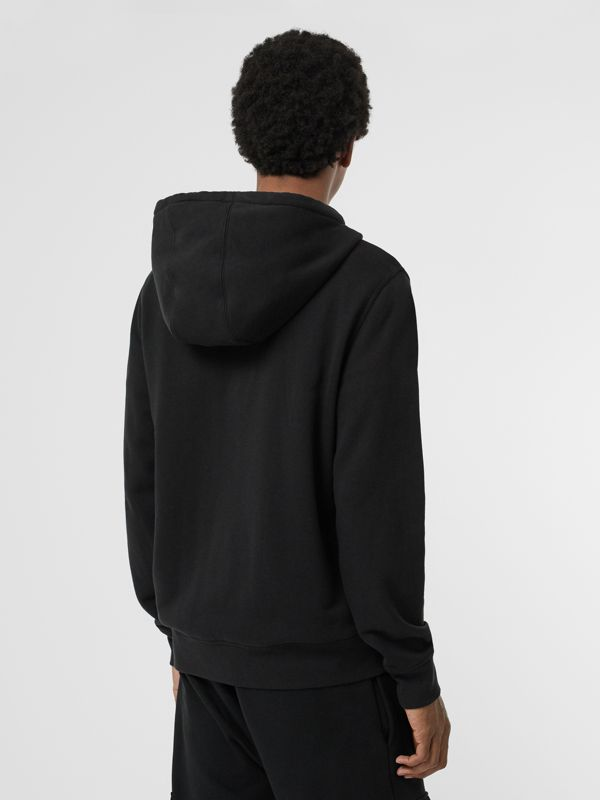 Contrast Crest Cotton Hooded Top in Black - Men | Burberry Singapore - cell image 2