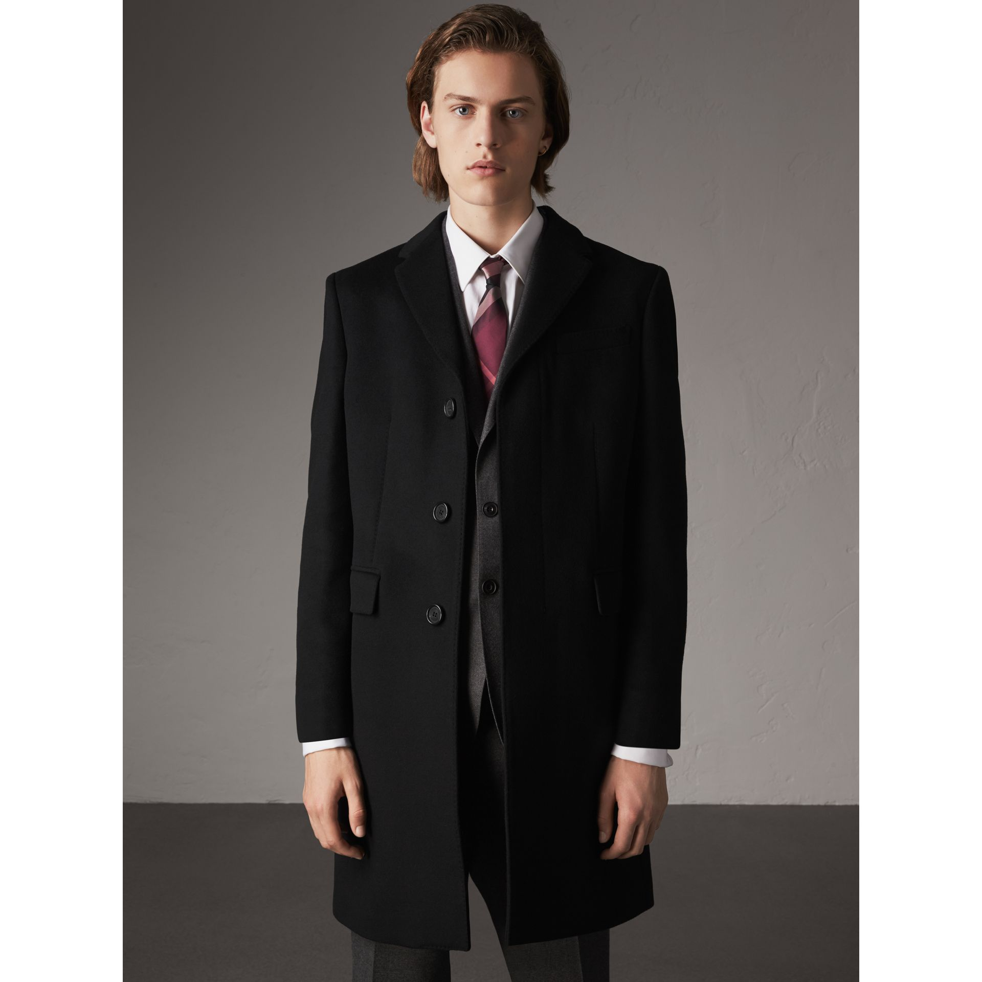 wool cashmere tailored coat in black men burberry united states. Black Bedroom Furniture Sets. Home Design Ideas