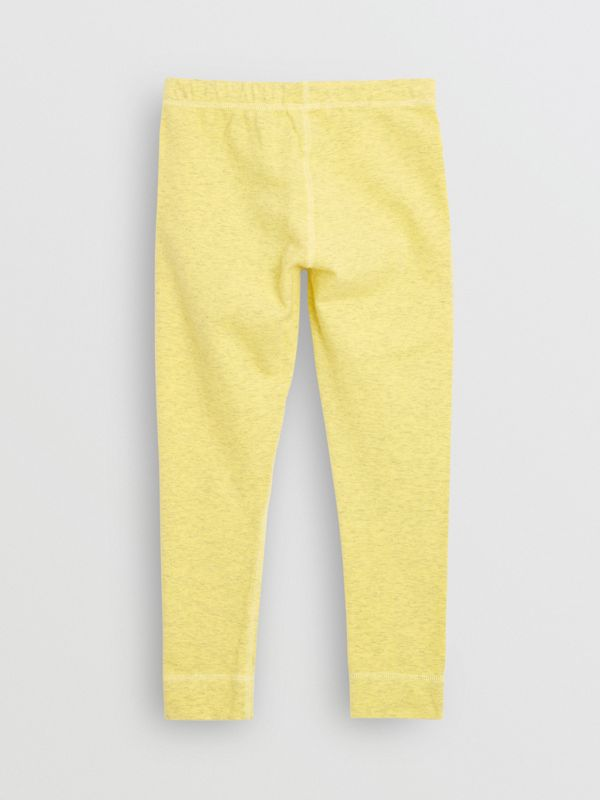 Logo Print Stretch Cotton Leggings in Citrus Yellow | Burberry Canada - cell image 3