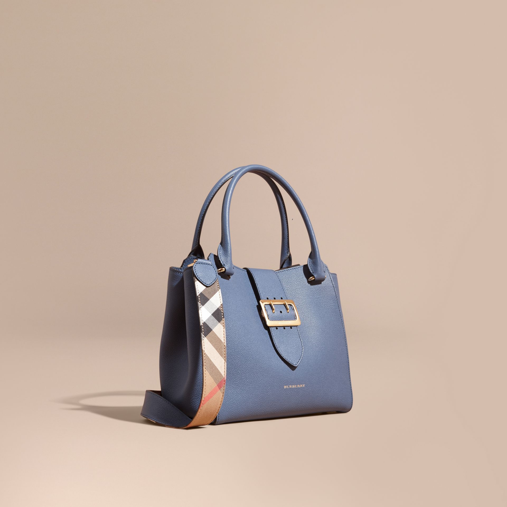 The Medium Buckle Tote in Grainy Leather in Steel Blue - gallery image 1