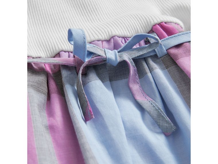 Check Cotton Jersey T-shirt Dress in Chalk Blue | Burberry - cell image 1