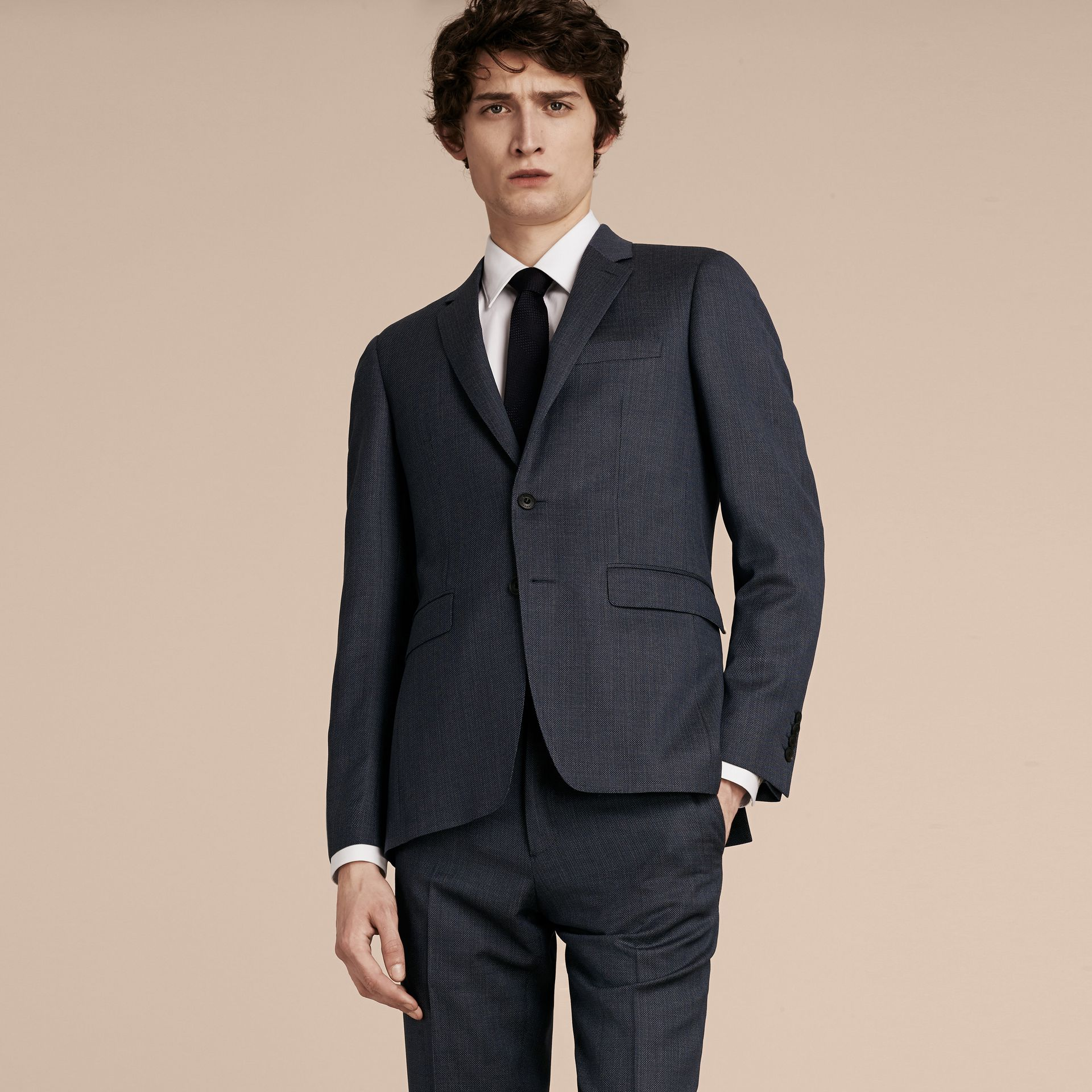 Steel blue Slim Fit Half-canvas Birdseye Wool Suit - gallery image 7