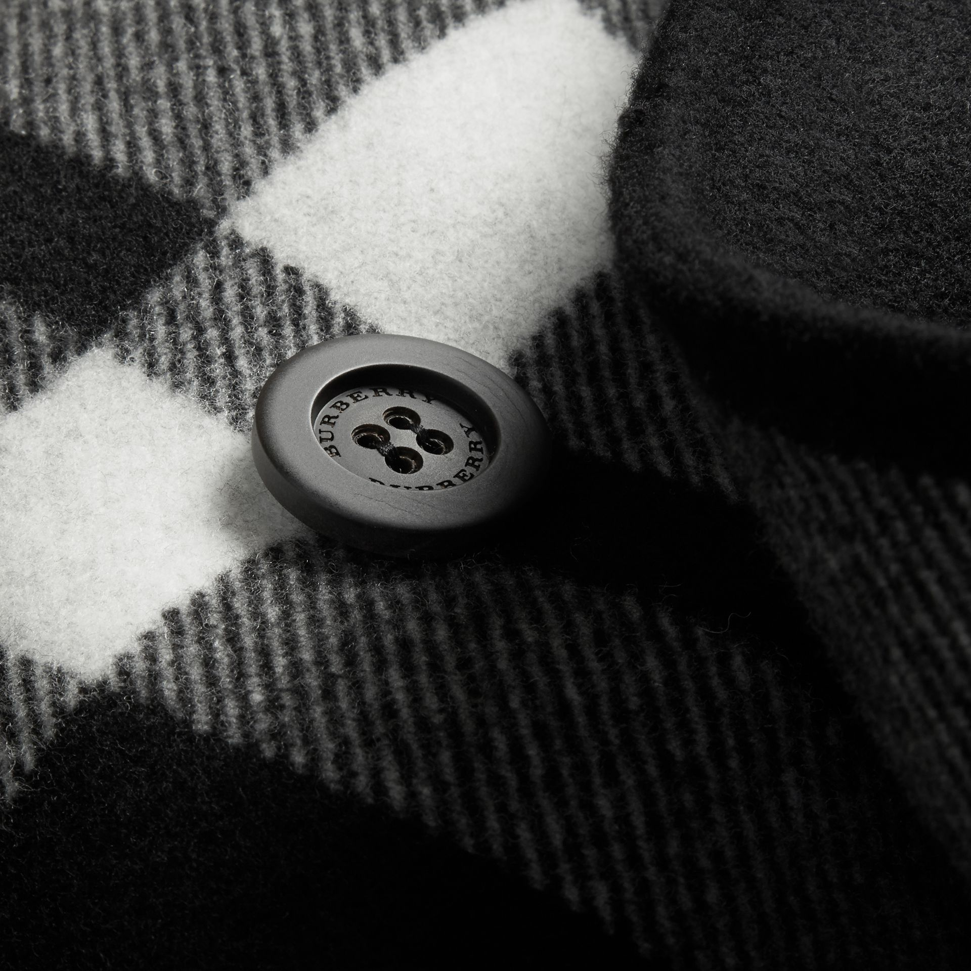 Black Double-breasted Check Wool Cashmere Coat - gallery image 2